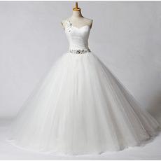 Elegant A-Line One Shoulder Floor Length Church Wedding Dresses