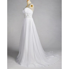 Gorgeous Crystal Beading A-Line Sweep Train Chiffon Beach Wedding Dresses with Low Back