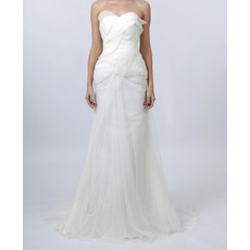 Inexpensive Mermaid Sweetheart Floor Length Chiffon Organza Pleated Church Wedding Dresses