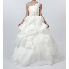 Inexpensive Fall A-Line One Shoulder Floor Length Wedding Dresses