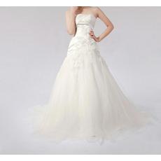 Elegant A-Line Strapless Long Church Bridal Wedding Dresses