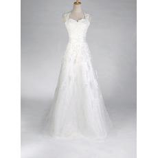 Discount A-Line Sweetheart Lace Satin Applique Beaded Floor Length Church Bridal Wedding Dresses