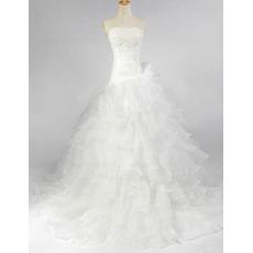 Elegant A-Line Strapless Ruffle Floor Length Wedding Dresses