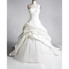 Elegant A-Line Strapless Taffeta Long Church Wedding Dresses