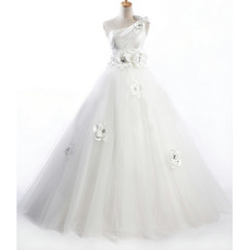 Inexpensive A-Line One Shoulder Long Church Wedding Dresses