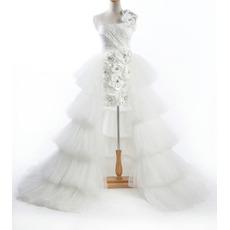 Elegant A-Line One Shoulder Taffeta Organza Floor Length Tiered Church Bridal Wedding Dresses