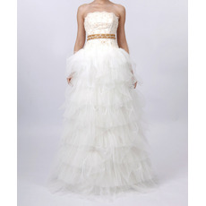 Elegant A-Line Strapless Organza Long Church Bridal Wedding Dresses