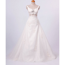 Affordable A-Line Straps Floor Length Satin Organza Jewel Beaded Church Bridal Wedding Dresses