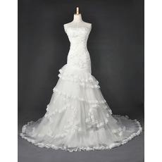 Inexpensive Elegant Mermaid Organza Floor Length Church Wedding Dresses