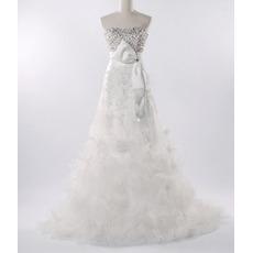Fall Elegant A-Line Beaded Church Organza Bridal Wedding Dresses