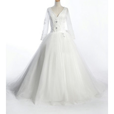Inexpensive A-Line V-Neck Long Sleeves Satin Organza Floor Length Applique Beaded Jewel Bowknot Wedding Dresses with Sleeves