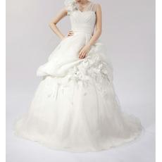 Elegant A-Line V-Neck Floral Satin Church Bridal Wedding Dresses
