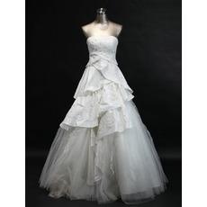Inexpensive Elegant A-Line Strapless Long Church Bridal Wedding Dresses
