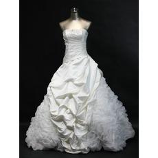 Elegant A-Line Strapless Floor Length Bridal Wedding Dresses