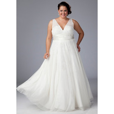 Elegant A-Line V-Neck Floor Length White Chiffon Plus Size Wedding Dresses