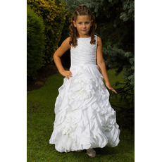Beautiful Gorgeous A-Line Bateau Ankle Length Ruffle Taffeta Pleated White Flower Girl/ First Communion Dresses