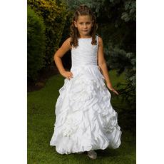Beautiful Gorgeous A-Line Bateau Ankle Length Ruffle Taffeta Pleated White Flower Girl/ First Communion Dresses