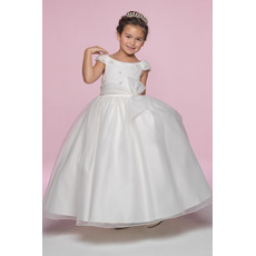 Princess Ball Gown Round Embroidery Satin Organza Flower Girl/ Ankle Length Full lined First Communion Dresses with Cap Sleeves