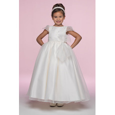 Pretty A-Line Bateau Cap Sleeves Ankle Length Embroidery Organza Flower Girl/ First Communion Dresses with Embroidery and Bow
