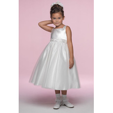 Affordable A-Line Square Tea Length Satin Flower Girl/ First Communion Dresses with Appliques Waist