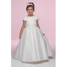 Ball Gown Round Full Length Embroidery Cap Sleeves Satin Organza Flower Girl/ First Communion Dresses with Bow