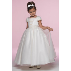 Princess Ball Gown Square Cap Sleeves Ankle Length Ruffled Organza Flower Girl/ First Communion Dresses