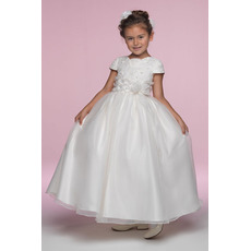 Pretty Ball Gown Cap Sleeves Satin Organza Flower Girl/ First Communion Dresses