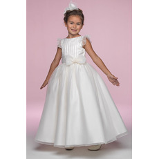 Pretty Ball Gown Bateau Ankle Length Ruffled Sleeves Organza Flower Girl/ First Communion Dresses
