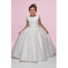 Inexpensive Pretty Ball Gown Round Full Length Ruffled Sleeves Embroidery Organza Bow Flower Girl/ First Communion Dresses