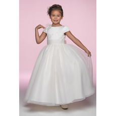 Inexpensive Pretty Ball Gown Bateau Ankle Length Cap Sleeves Organza Embroidery Flower Girl/ First Communion Dresses with Ruched