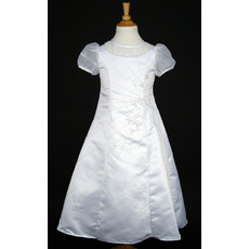 Luxury Beaded A-Line Round Short Sleeves Full Length White Flower Girl/ First Communion Dresses with Short Sleeves
