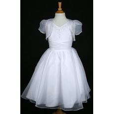 Princess Ball Gown V-Neck Ankle-length Organza First Communion Dresses with Jacket and Beaded Appliques