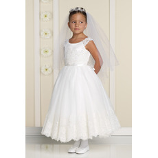 Discount A-Line Round Ankle Length Applique Tulle First Communion Flower Girl Dresses