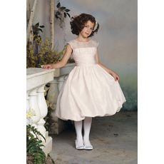 Affordable A-Line Round Sleeveless Knee Length Beaded Taffeta Flower Girl/ First Communion Dresses
