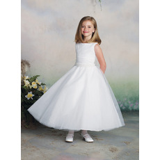 Discount A-Line Bateau Ankle Length Beaded Waist White Flower Girl/ First Communion Dresses with 3D Flower