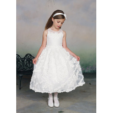 Beautiful A-Line Round Tea Length Organza Applique Flower Girl/ First Communion Dresses