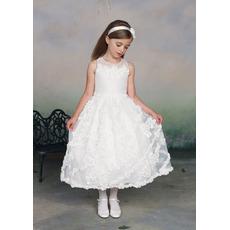 Beautiful A-Line Round Tea Length Organza Applique Flower Girl/ First Communion Dresses