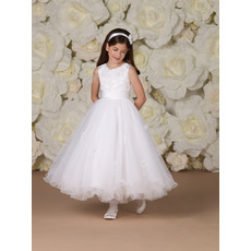 Pretty A-Line Round Ankle Length Appliques Organza White First Communion Dresses with Ruched Jackets