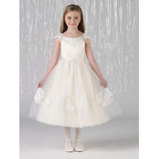 Unique Pretty A-Line Round Neck Tea Length Pic-up Flower Girl Dresses with Bow