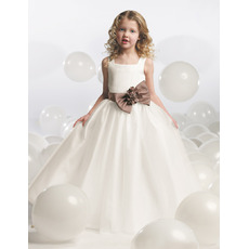 Sweety Ball Gown Square Neck Floor Length Satin Bow Flower Girl Dresses with Bow/ First Communion Dresses