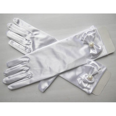 Short Elastic Satin Gloves for Girls