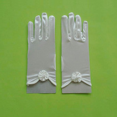 Short Wrist Elastic Satin Gloves with Flowers for Girls