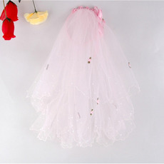 Beautiful White/ Pink Tulle Flower Girl Veils with Bows