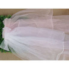 Lovely White/ Pink Tulle Flower Girl Veils with Bows and Beading