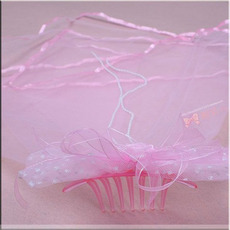 Cheap Lovely Pink Tulle Flower Girl Veils with Bows and Beading