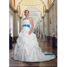 Empire Ball Gown Strapless Floor Length Pick-up Skirt Satin Sash Embroidery Beaded Wedding Dresses with Sashes