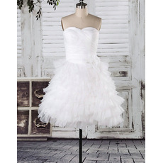 Charming A-Line Sweetheart Strapless Ruffled Layered Tulle Wedding Dresses