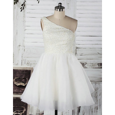 Attractive A-Line One Shoulder Beaded Short Reception Wedding Dresses