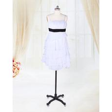 Little Spaghetti Straps Tiered Skirt Chiffon Short Reception Wedding Dresses