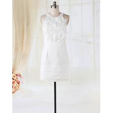 Elegant Beautiful Round Neck Ruffled Column Short Reception Wedding Dresses
